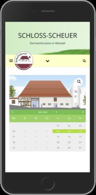 Screenshot Website AK Schloss-Scheuer auf iPhone